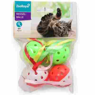Katzenspielzeug Rasselball mit Bändern, Ø 45 mm, weiß/rot/grün/gelb, 4 Stück