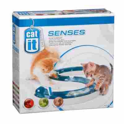 Katzenspielzeug Schienensystem mit Ball, S-Form, 1000 x 50 x 65 mm, blau/weiß