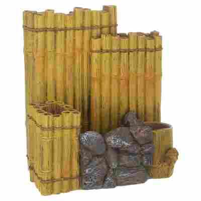 Aquarien-Dekofigur Bambuswand Kunstharz braun 15 x 8,5 x 13,5 cm
