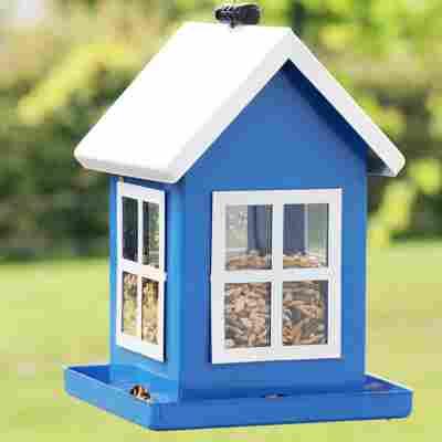 Vogelfutterhaus 'Lea' blau 14 x 14 x 19,5 cm