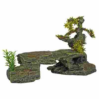 Deko-Tunnelfels Polyresin grau/grün 34 x 15,5 x 21 cm