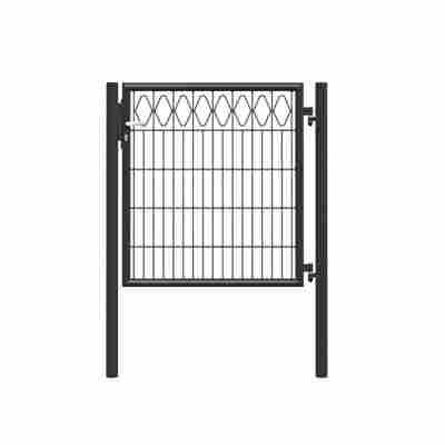 Gartentor 'Eleganz' mit Pfosten zum Einbetonieren Stahl anthrazit 100 x 104 cm