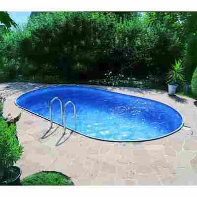 Einbaupoolset 'Exklusiv 5' blau oval 700 x 350 x 120 cm