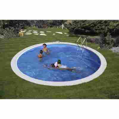 Einbaupool-Set 'Moorea' blau/weiß rund Ø 420 x 150 cm