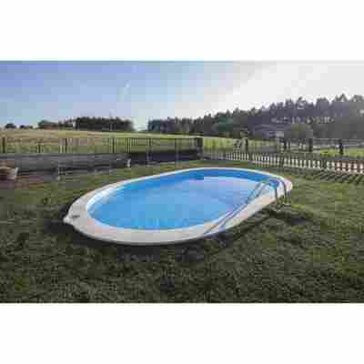 Einbaupool-Set 'Sumatra' blau/weiß oval 700 x 320 x 120 cm