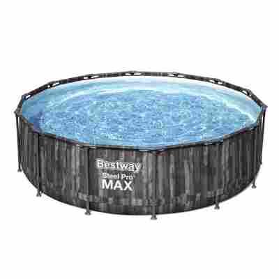 Aufstellpool 'Steel Pro MAX' Komplett-Set, grau rund Ø 427 x 107 cm
