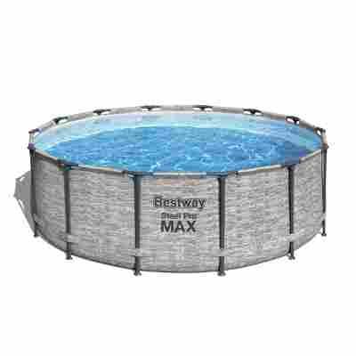 Aufstellpool 'Steel Pro MAX' Komplett-Set, grau rund Ø 427 x 122 cm