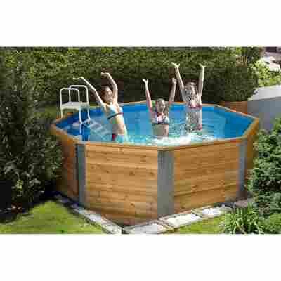 Massivholz-Pool '593' achteckig, 310 x 310 x 116 cm