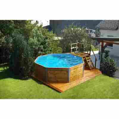 Massivholz-Pool '593 B 1' achteckig, 376 x 376 x 116 cm