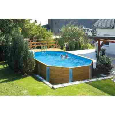 Massivholz-Pool '594' achteckig, 714 x 376 x 116 cm