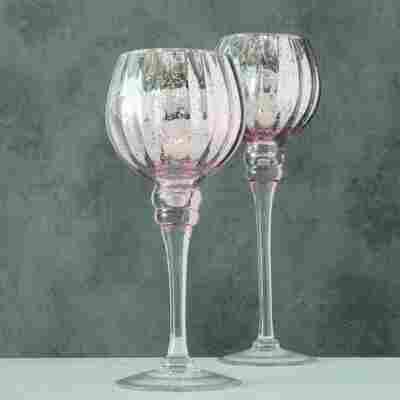 Windlicht 'Minou' Glas lackiert Ø 11 x 30 cm 2-teilig