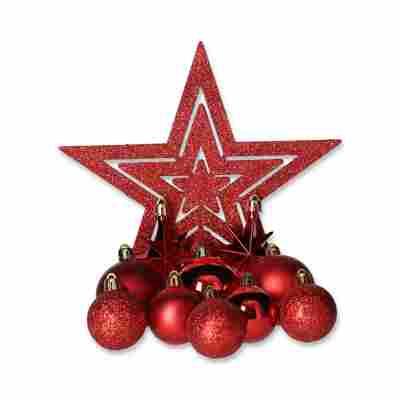 Christbaumschmuck-Set rot, 45-teilig