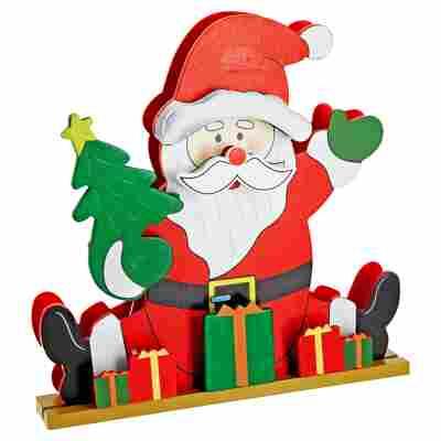 Holzfigur Santa mit 20 LEDs, 26 cm