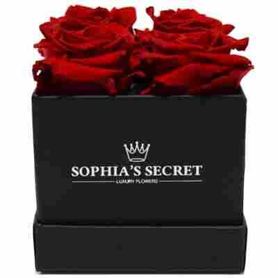 Rosenbox schwarz mit 4 haltbaren roten Rosen