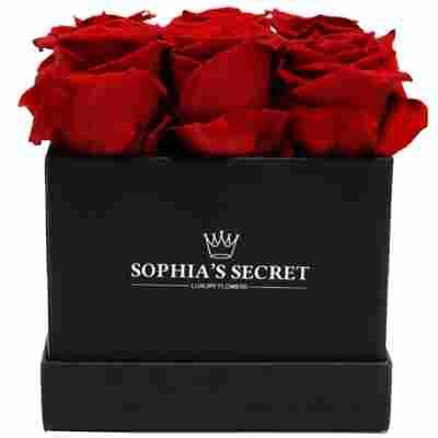 Rosenbox schwarz mit 9 haltbaren roten Rosen