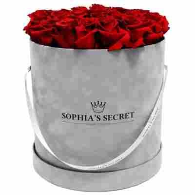 Rosenbox 'Hutschachtel' silbergrau mit 18-20 haltbaren roten Rosen