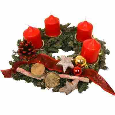 Adventskranz mit 4 roten Kerzen und LED-Lichterkette rot Ø 30 cm