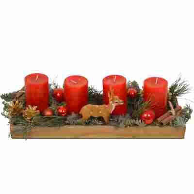 Adventsgesteck im Holztablett mit 4 roten Rustik-Kerzen 48 x 18 x14 cm