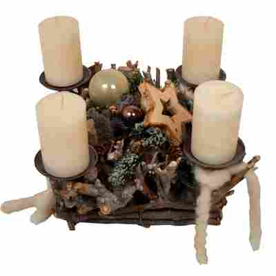Advents-Wurzelgesteck mit Kugeln und 4 weißen Rustik-Kerzen 30 x 30 x 25 cm