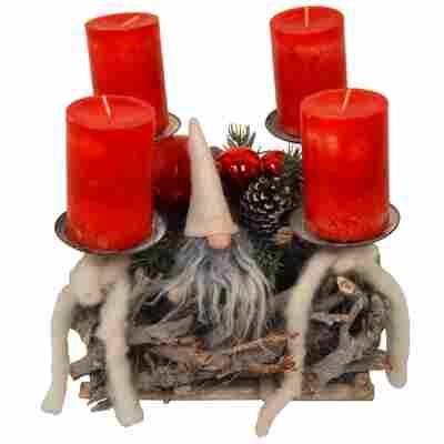 Advents-Wurzelgesteck mit Wichtel und 4 roten Rustik-Kerzen 30 x 30 x 25 cm