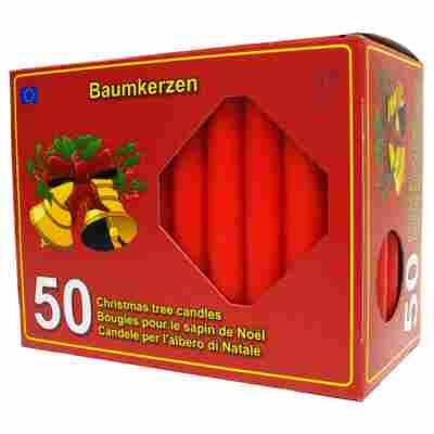 Baumkerzen rot Ø 1,2 x 10,3 cm, 50 Stück
