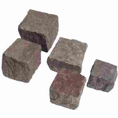Pflasterstein 10 x 10 x 5-8 cm rot-grau