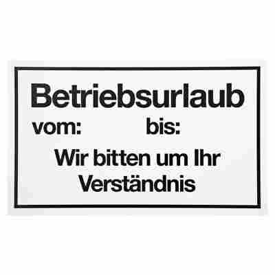 """Schild """"Betriebsurlaub"""" 15 x 25 cm"""