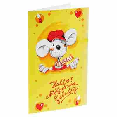 Glückwunschkarte mit Umschlag Mausmotiv