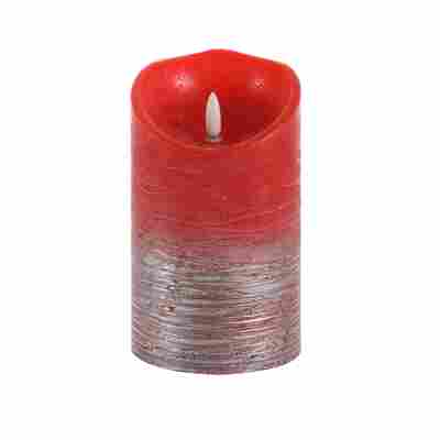 LED-Echtwachskerze 'Glace' rot/silbern Ø 9 x 15 cm