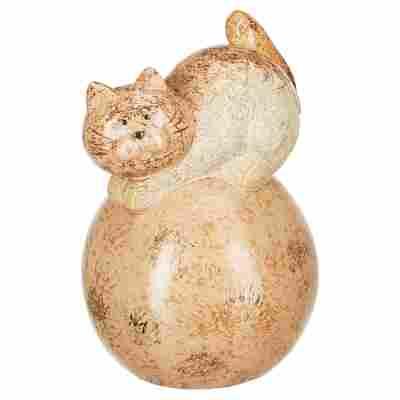Gartenfigur Katze auf Ball 16 x 24 x 16 cm
