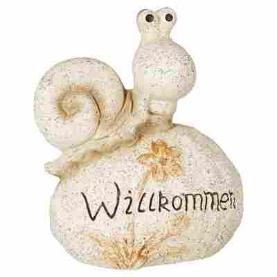 Gartenfigur Schnecke auf Stein sandfarben 27 x 32 x 15 cm