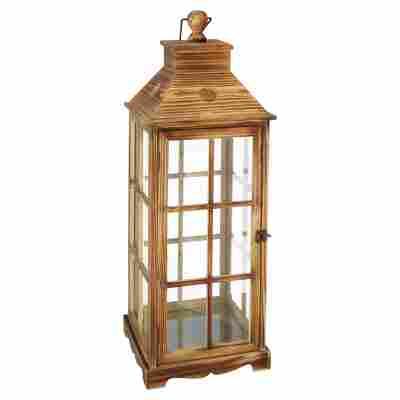 Deko-Laterne Holz/Glas braun 27 x 27 x 76 cm