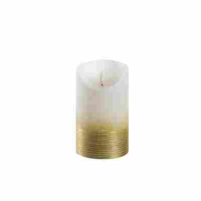 LED-Echtwachskerze 'Lumbre Rustic' creme/goldfarben Ø 9 x 15 cm
