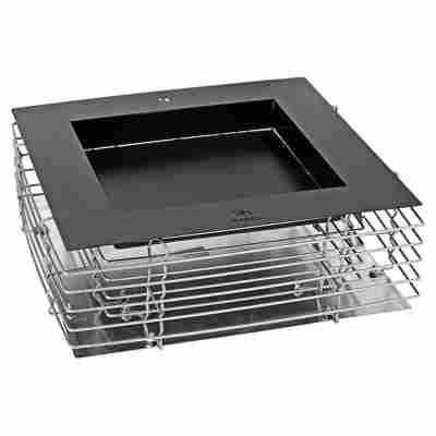 Feuerschale Quader XL Metall grau/silbern 59 x 59 x 18 cm