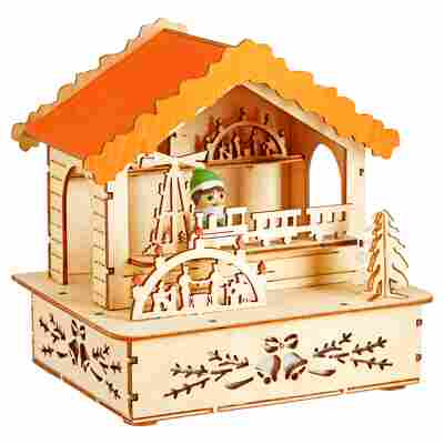 Weihnachtsbeleuchtung LED-Holzsilhouette 'Marktstand mit orangem Dach'