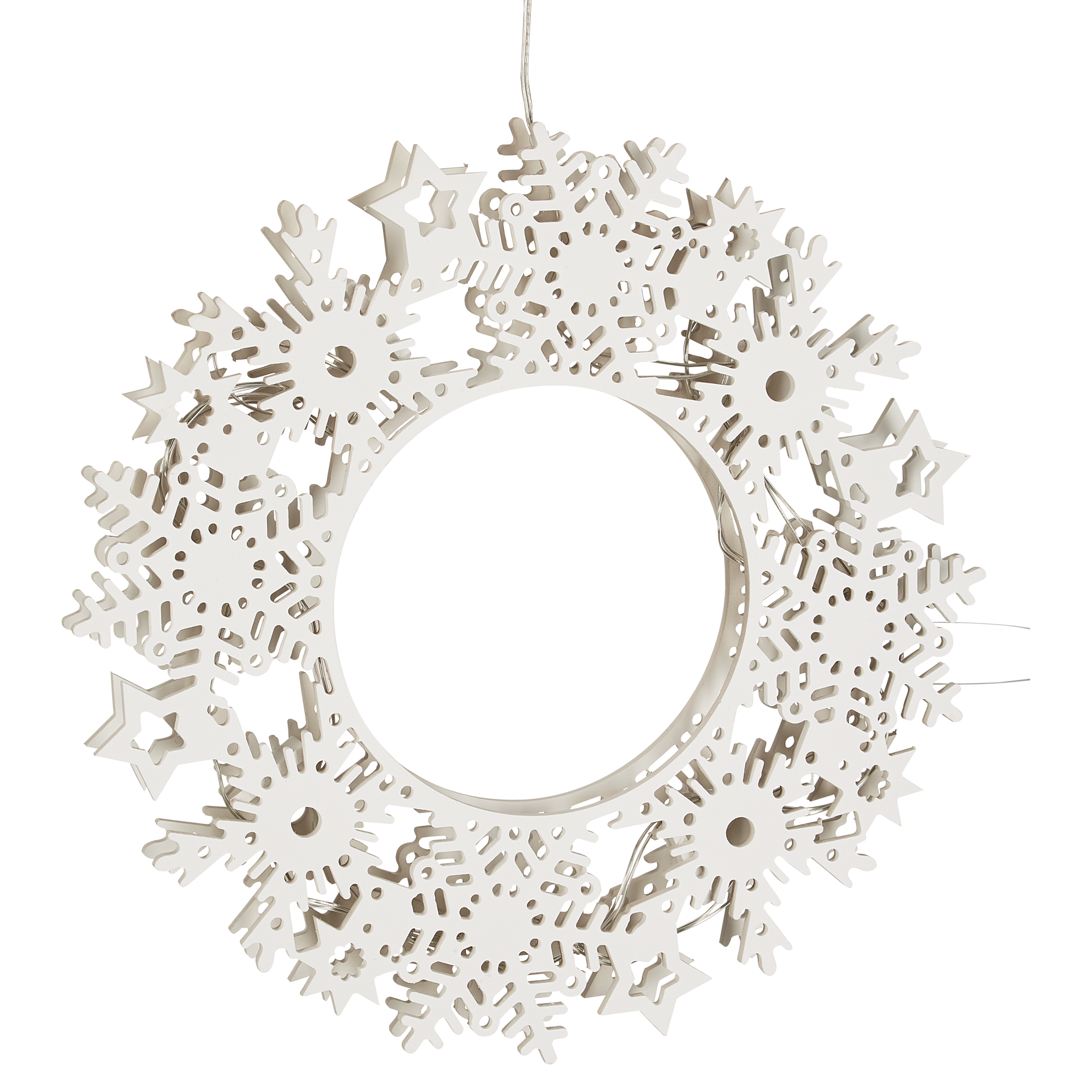 Weihnachtsbeleuchtung Kranz.Weihnachtsbeleuchtung Led Dekokranz Prince Weiß 16 Leds ø 36 Cm