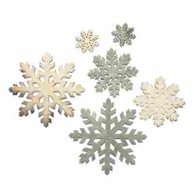 Holz-Streuteile 'Schneeflocken' mehrfarbig sortiert 2 x 6 cm/5 x 4 cm/5 x 2 cm