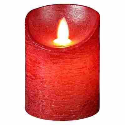 LED-Echtwachskerze rot Ø 7,5 x 10 cm