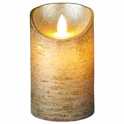 LED-Echtwachskerze gold Ø 7,5 x 12,5 cm