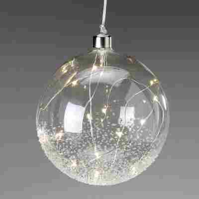 LED-Kugel aus Glas Ø 15 cm, strukturiert transparent
