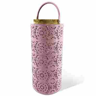 Laterne, florale Spitze, rosa, 36 cm