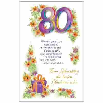 Grußkarte Geburtstag '80 Blumenranke'