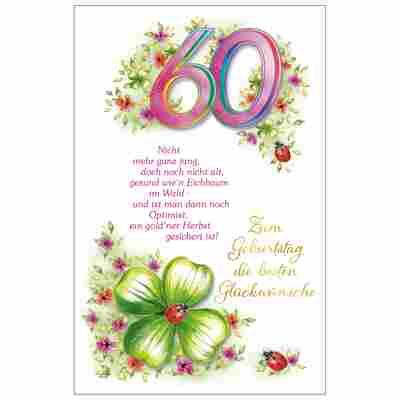 Grußkarte Geburtstag '60 Blumenranke'