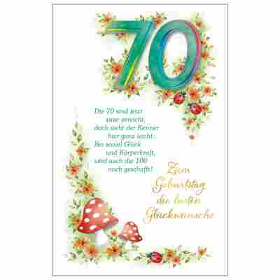 Grußkarte Geburtstag '70 Blumenranke'