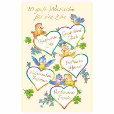 Grußkarte Hochzeit '10 Wünsche'