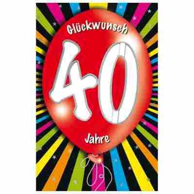 Grußkarte Geburtstag '40 Ballon'