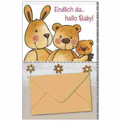 Grußkarte Geburt 'Hase und Bär'