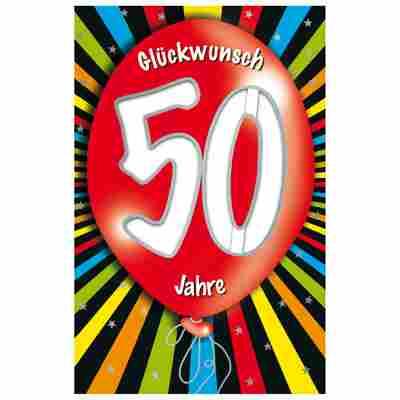Grußkarte Geburtstag '50 Ballon'