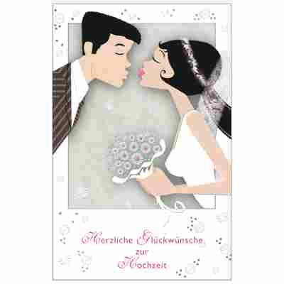 Grußkarte Hochzeit 'Brautkuss'
