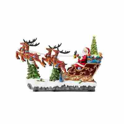 LED-Spieluhr 'Sanda' Santa mit Rentierschlitten mit Multicolor-LED